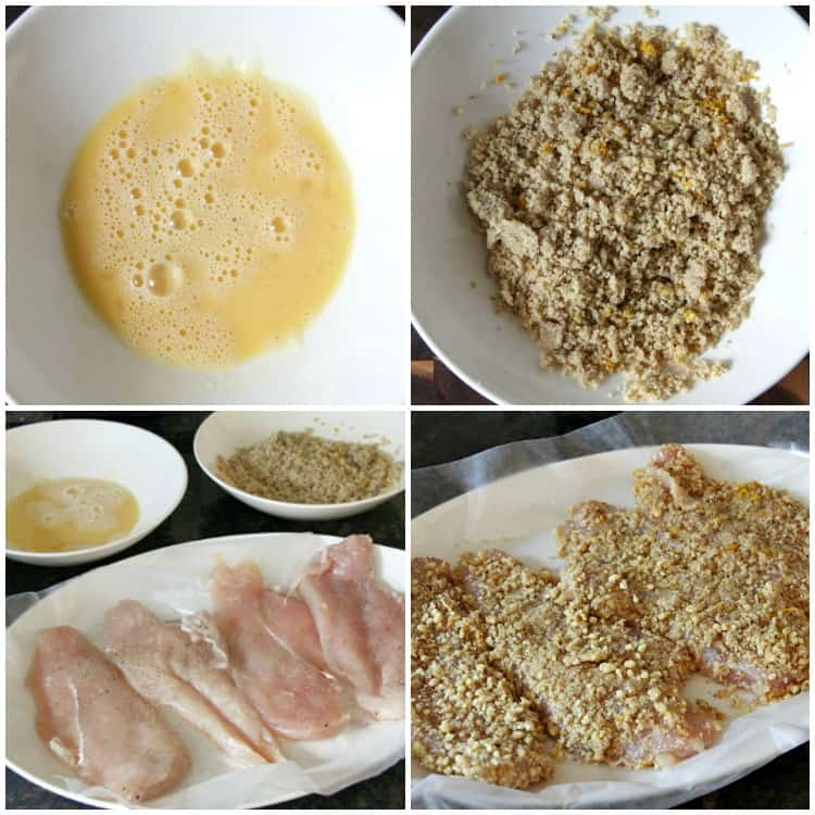 walnut crusted chicken before cooking