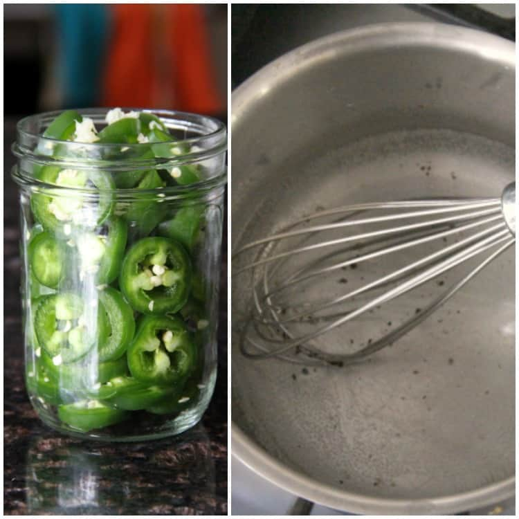 sliced jalapenos in jar and pan with brine