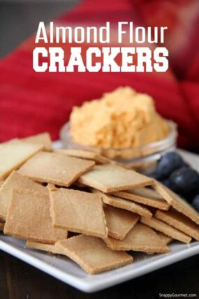 Almond Flour Crackers with cheese and blueberries