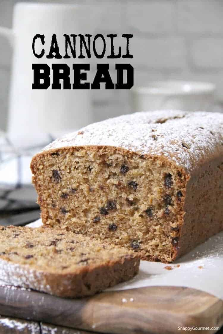 Loaf of Cannoli Bread cut open
