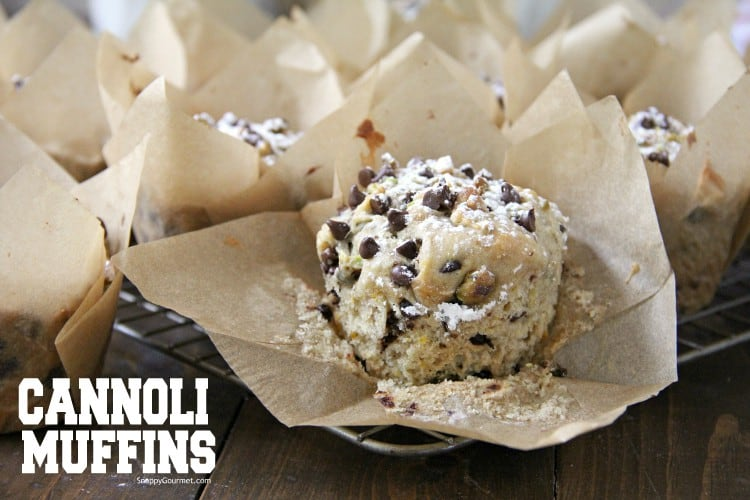 Homemade Cannoli Muffin in paper liner