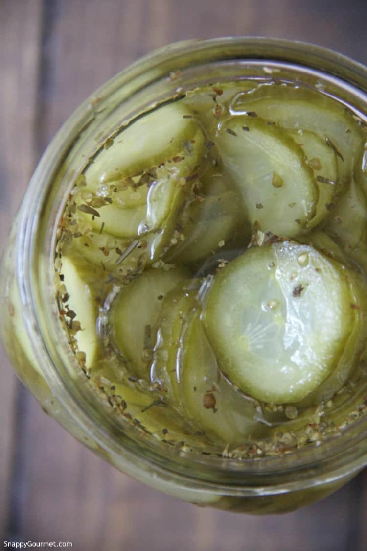 Refrigerator Italian Pickles in mason jar