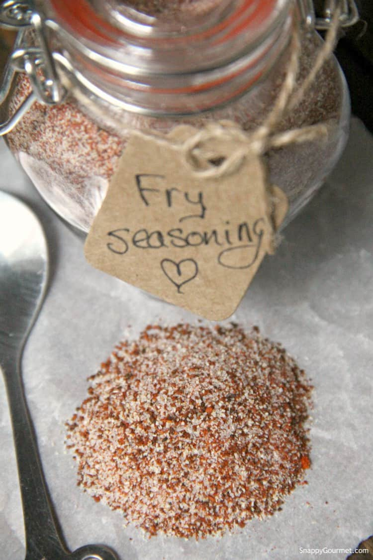 fry seasoning in glass jar with gift tag