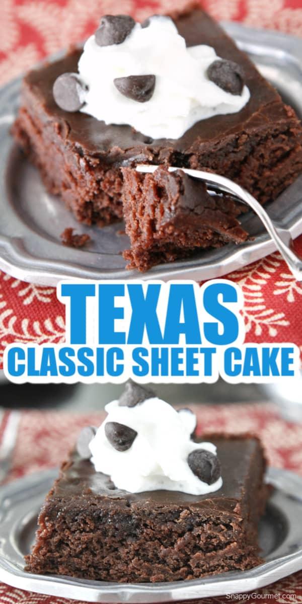 collage of Texas Sheet Cake