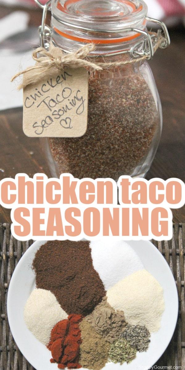 collage of chicken taco seasoning