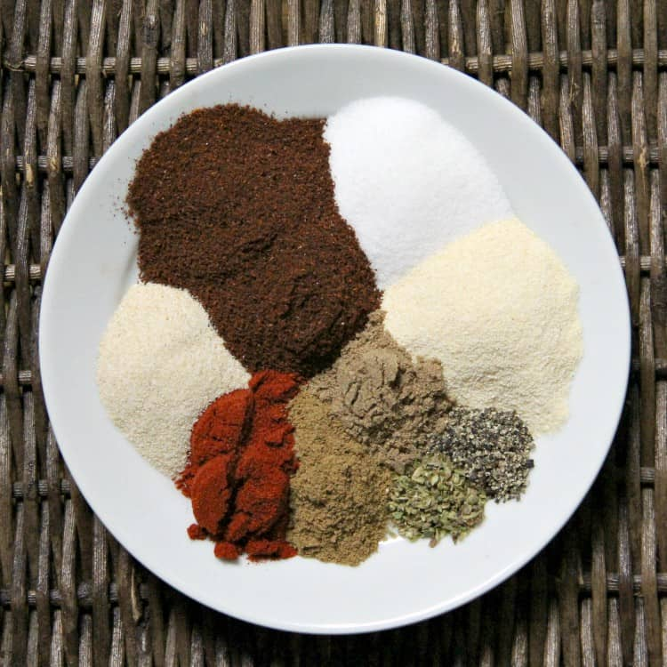 ingredients for chicken taco seasoning on plate