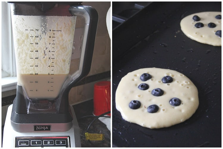 blender with pancake batter and skillet with pancakes