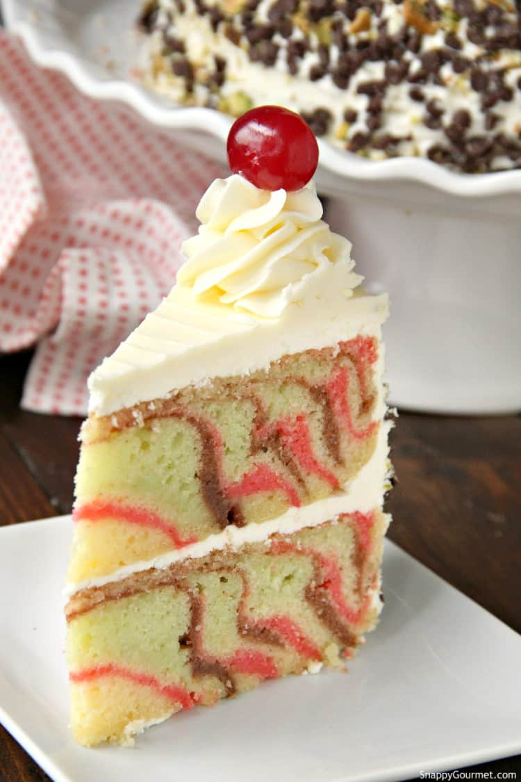 slice of spumoni cake on plate