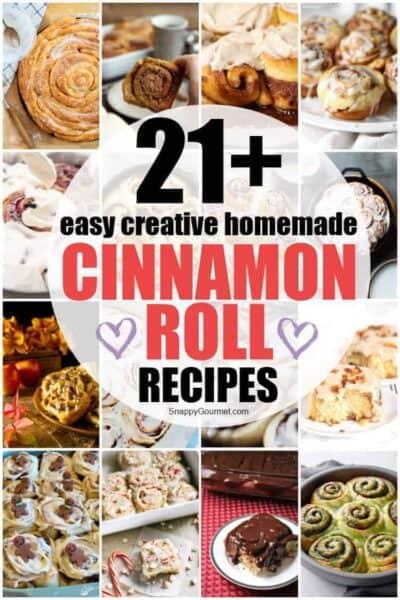 collage of cinnamon rolls