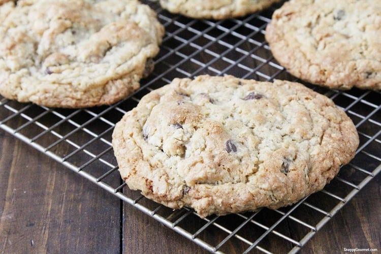 Oatmeal Walnut Chocolate Chip Cookies on wire rack