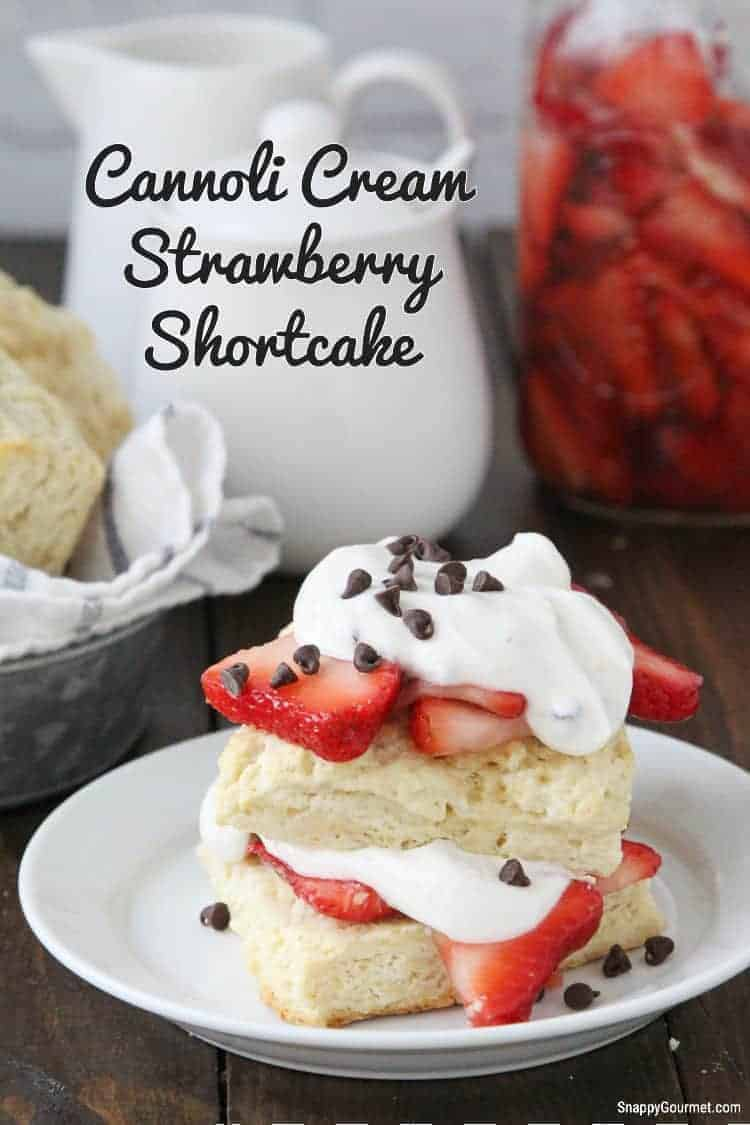 shortcake on plate topped with cream and chocolate chips