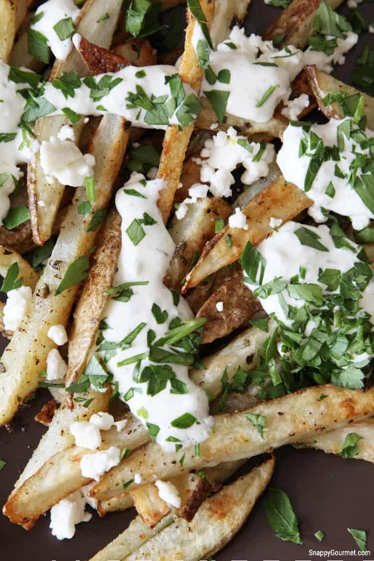 closeup of Greek style fries with seasoning and yogurt tzatziki