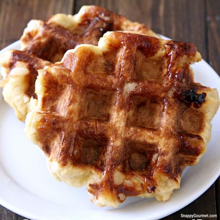 crispy belgian waffles on plate