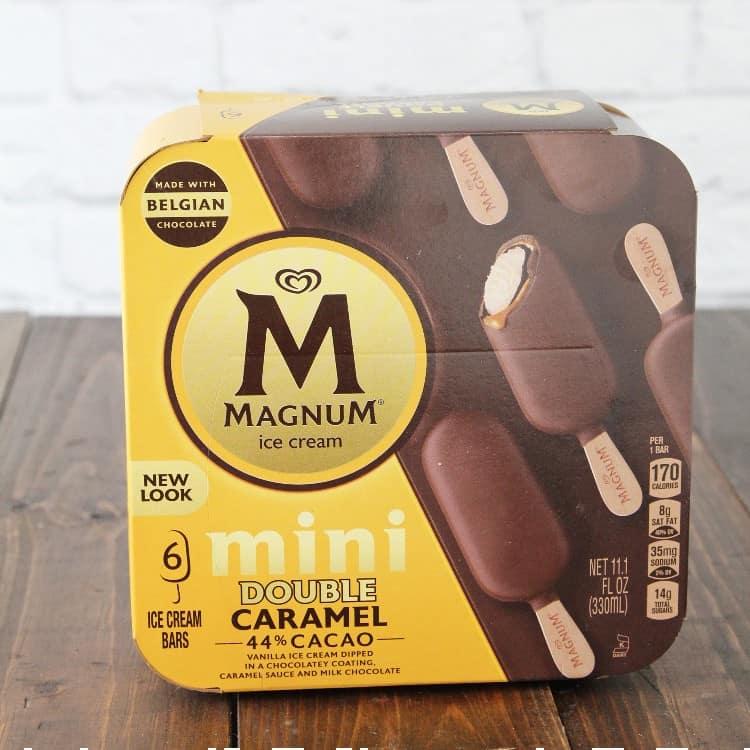 box of Magnum Mini Double Caramel ice cream bars