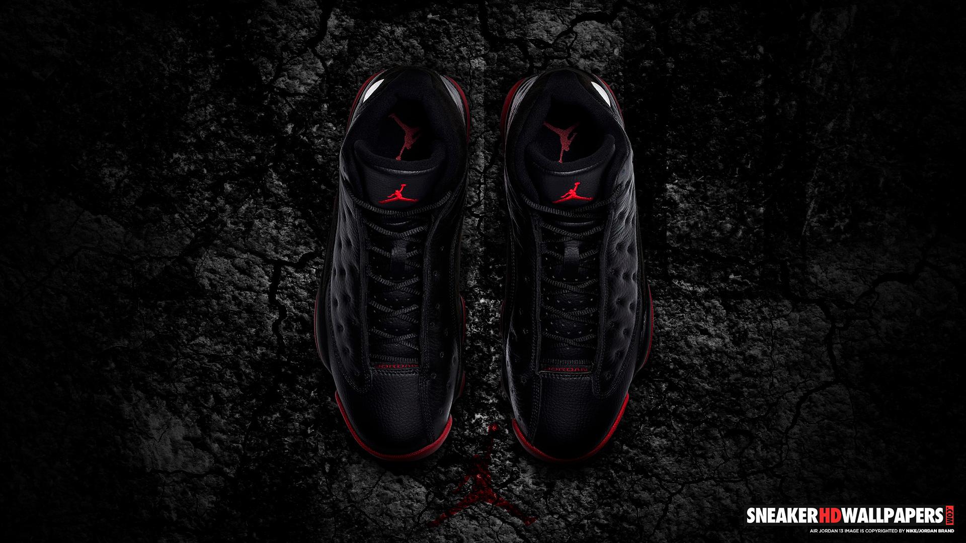 Black Background Red And Black Jordan Shoes