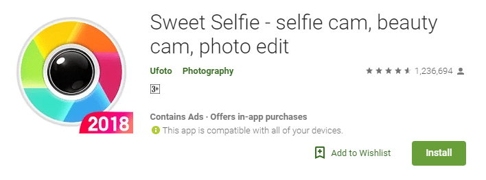 Sweet Selfie - selfie cam, beauty cam, photo edit