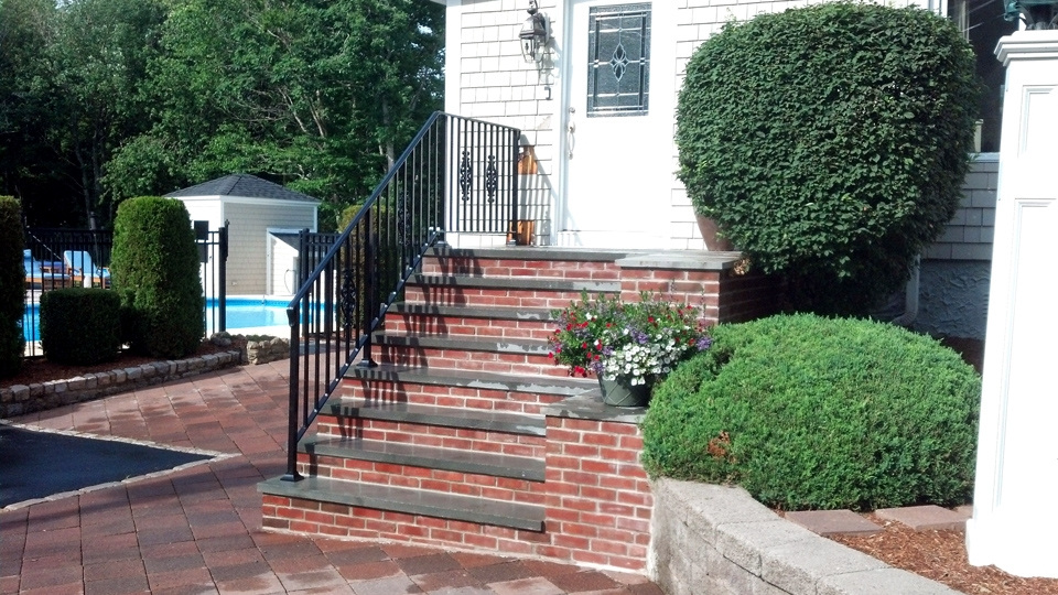 Wrought Iron Railings Ma Ri Custom Iron Hand Rails Ornamental | Decorative Handrails For Outdoor Steps | Exterior Black Metal | Foldable | Single Post | Farmhouse | Solid Wood