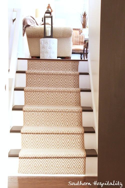 Painted Stairs And Adding Runners Southern Hospitality   Carpet In Middle Of Stairs   Exposed Tread   Hardwood   Wood   Victorian   Popular