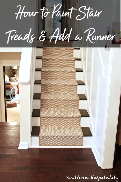 Painted Stairs And Adding Runners Southern Hospitality   Painted Stairs With Carpet Treads   Carpet Covered   Bare Wood   Design   Carpeting   Charcoal Grey