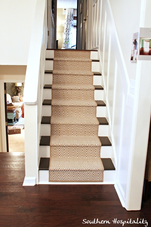 Painted Stairs And Adding Runners Southern Hospitality   Carpet Down Middle Of Stairs   Stair Rods   Wood   Hardwood   Steps   Laminate Flooring