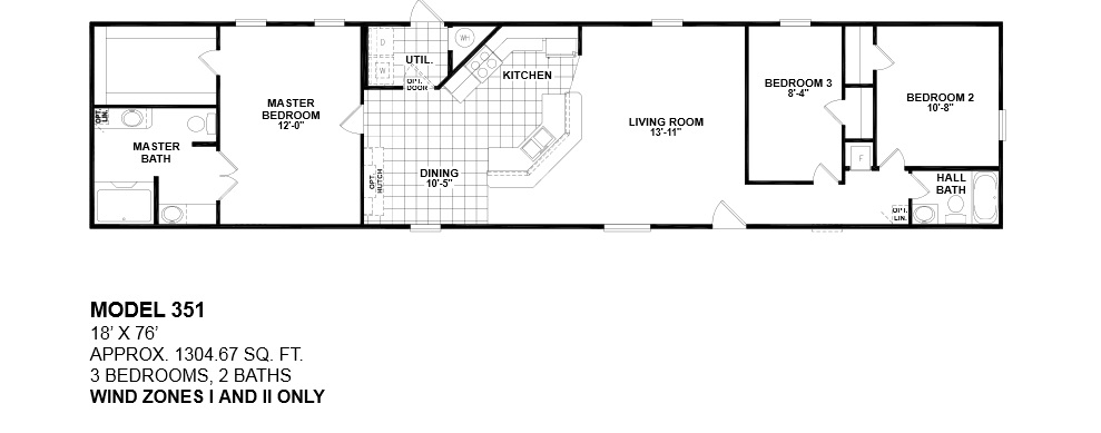 14x70 mobile home floor plan home decoration for 3 bathroom mobile homes
