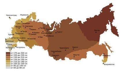凍結の深さにおける地域の地図
