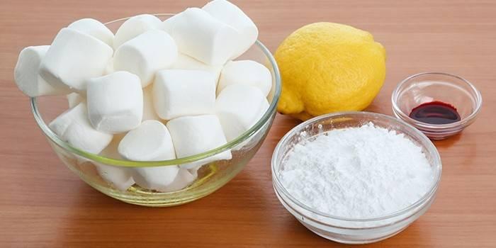 Маршмеллоу, лимон, сахарная пудра и краситель