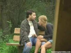 Boquete no banco para namorado