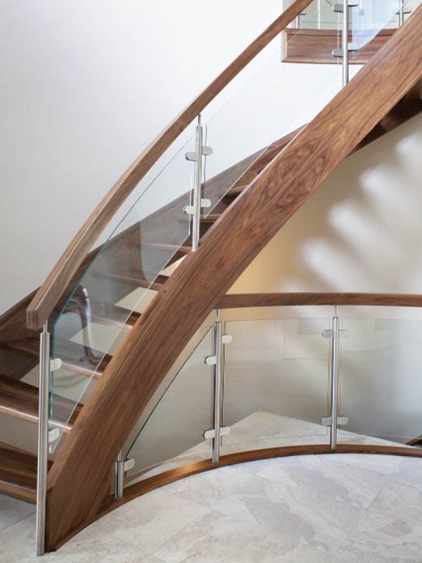 Walnut With Curved Glass Specialized Stair Rail | Curved Glass Staircase Railing | Half Circle | Aluminium | Tuffen | Interior Modern Glass | Stone Glass