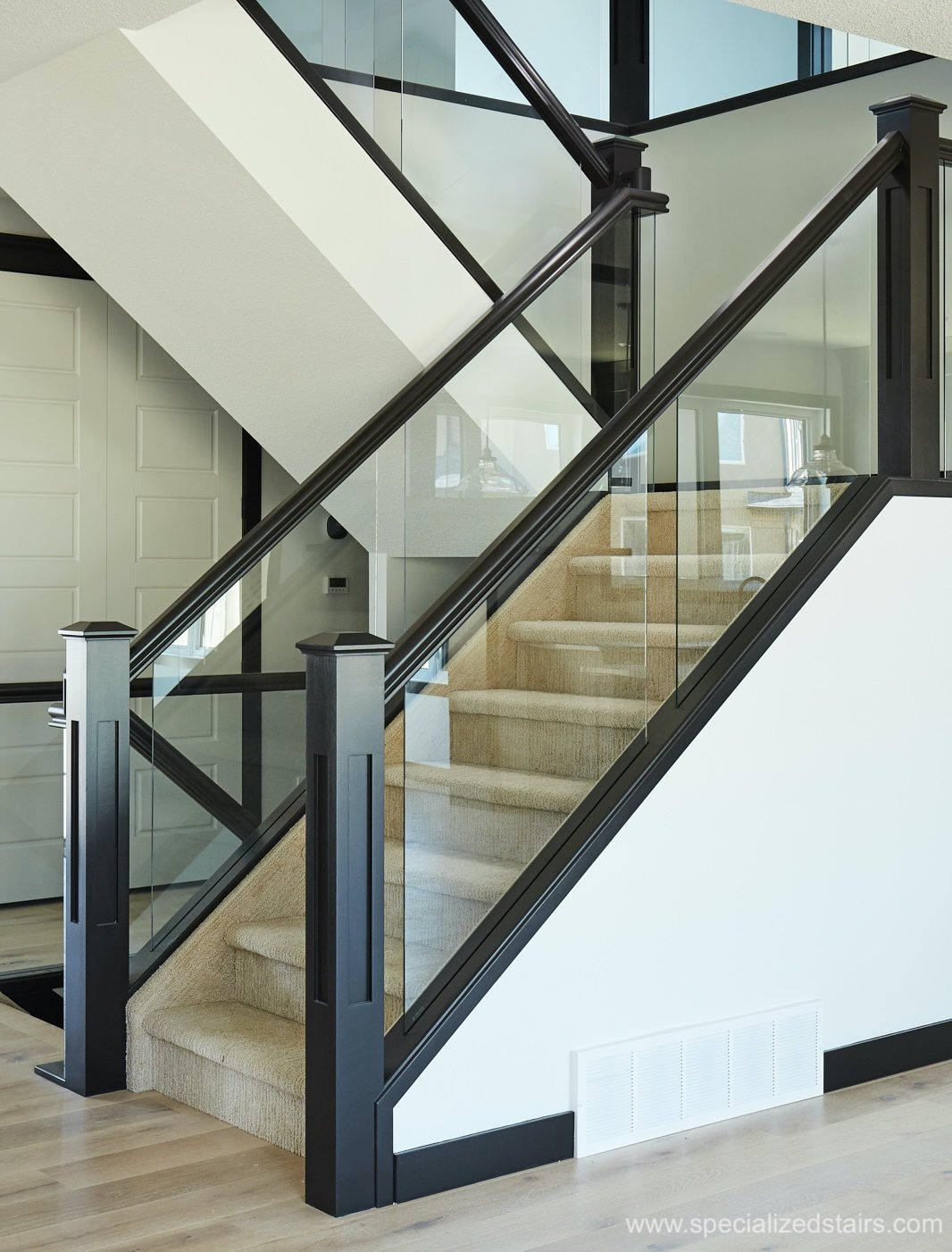 Dadoed Glass Railing Specialized Stair Rail | Glass Balusters For Stairs