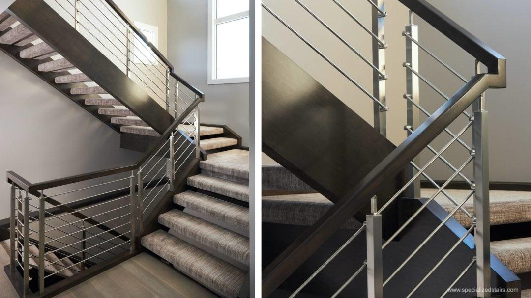 Benefits Of Horizontal Railing Specialized Stairs Edmonton Kelowna | Modern Horizontal Stair Railing | Really Thin | Interior | Cast Iron | Cable | Elegant