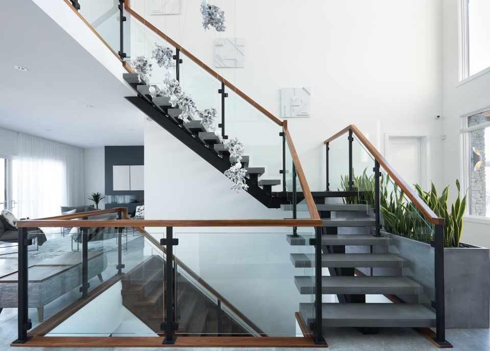 Top 10 Modern Glass Railing Inspirations Specialized Stair Rail | Steps Railing Designs With Glass | Terrace Staircase | Tempered Glass | Indoor | Crystal | Small Space