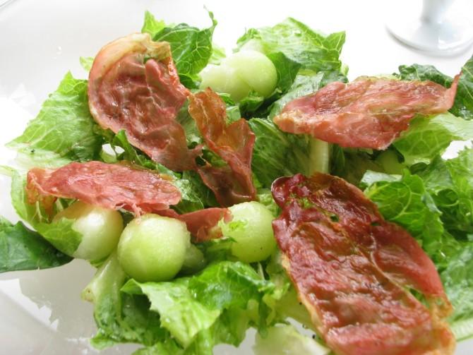 Romaine Honey Dew Prosciuitto Salad