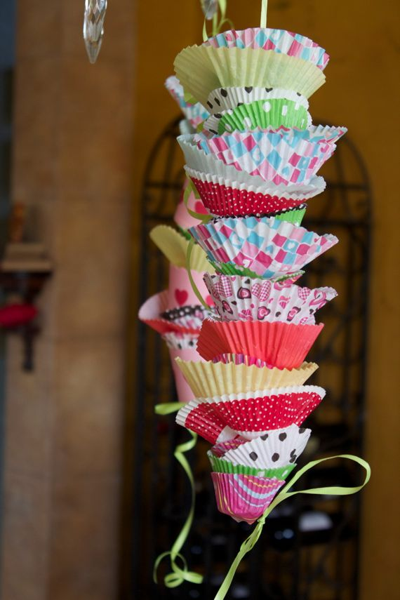 Cutest birthday decorations made with cupcake liners by Angela Roberts