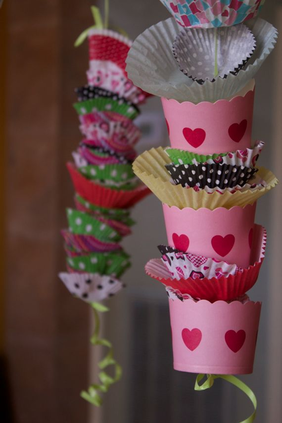 Cutest Valentine's Decorations made with cupcake liners by Angela Roberts