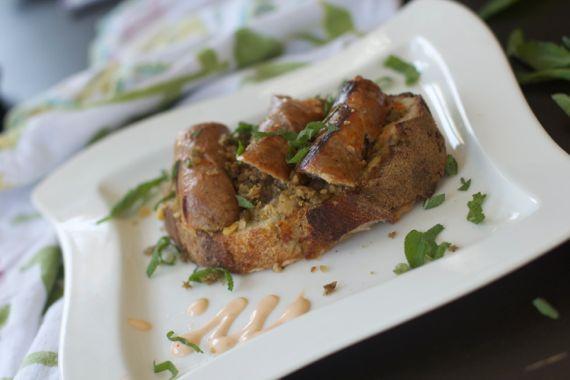 Bangers &  Lentil Mash Sandwich  with Tabasco Mayo