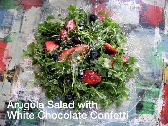 Arugula, Berries, White Chocolate