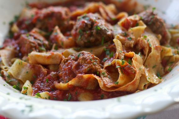 Paparadelle with Prosciutto Meatballs and Chunky Tomato Sauce by Angela Roberts