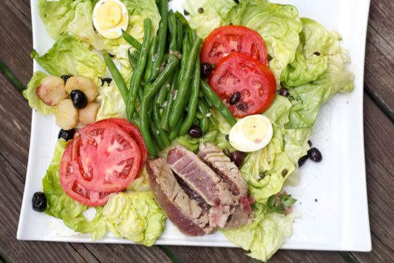 Seared Tuna Nicoise Salad with Shallot Vinaigrette Dressing 3 by Angela Roberts