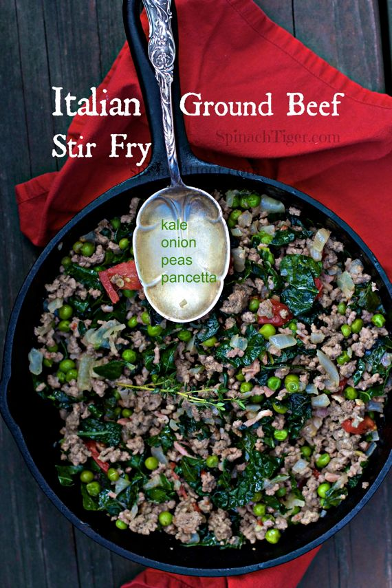 Ground Beef Italian Style with Pancetta, Kale, Peas, by Angela Roberts