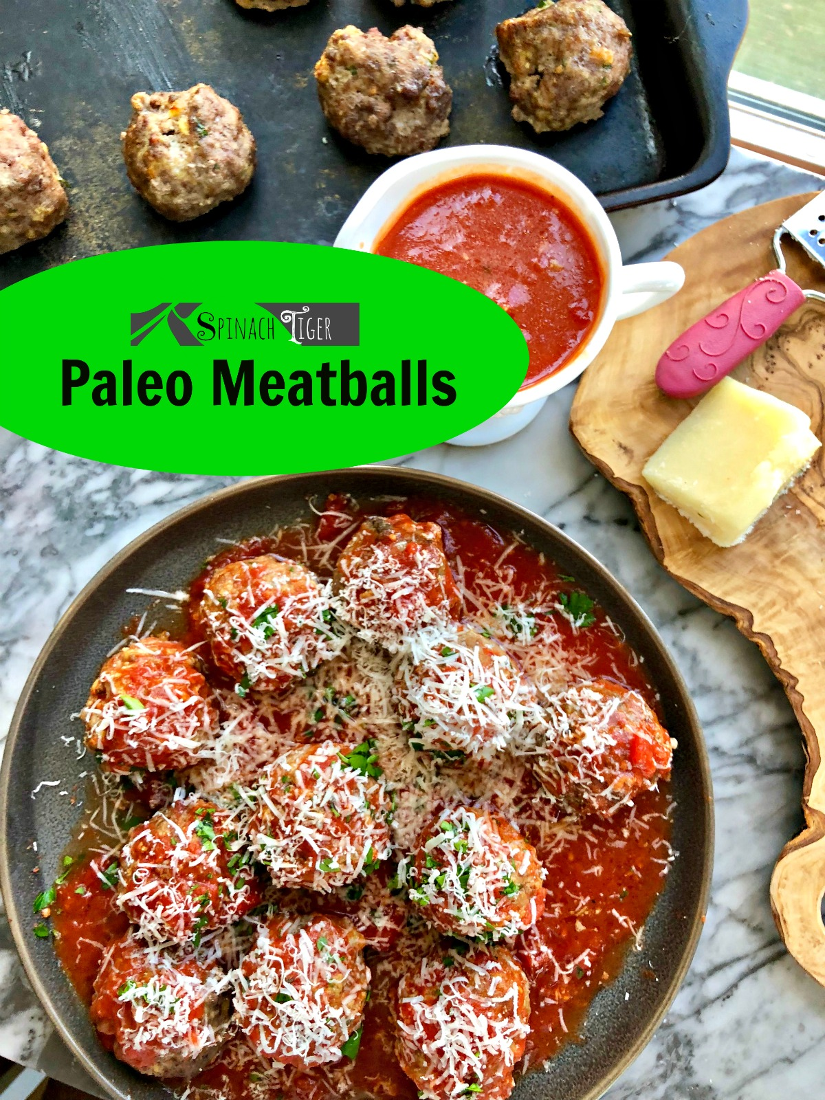 Paleo Meatballs for a grain free, keto friendly dinner. Also loves mozzarella and ricotta cheese. #paleomeatballs #ketomeatballs #spinchtiger via @angelaroberts
