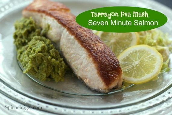 Tarragon Pea Mash Pan Fried Salmon by Angela Roberts