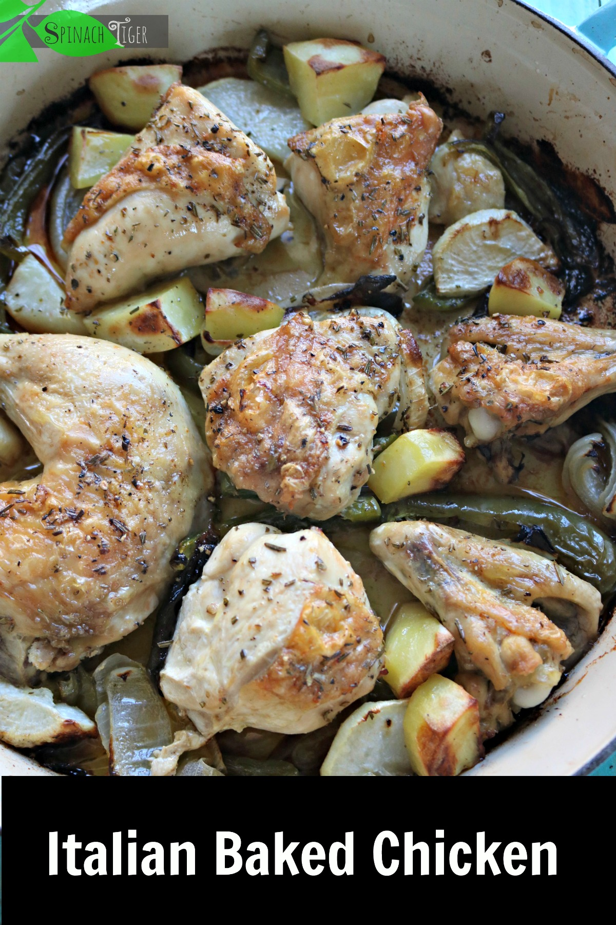 Italian baked chicken with green bell pepper, onion, rosemary, potatoes or turnips. Can be baked in sheetpan. #healthychickenrecipe #chickenrecipe #bakedchicken #spinachtiger #lowcarbdinner via @angelaroberts
