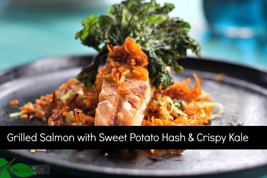 Grilled Salmon with Sweet Potato Hash Crispy Kale