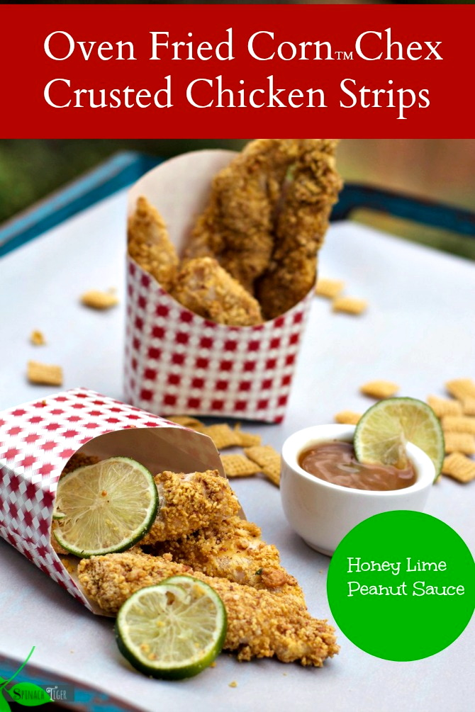Corn Chex Crusted Chicken Strips with Peanut Honey Lime Sauce, Gluten Free, Chicken Tenders