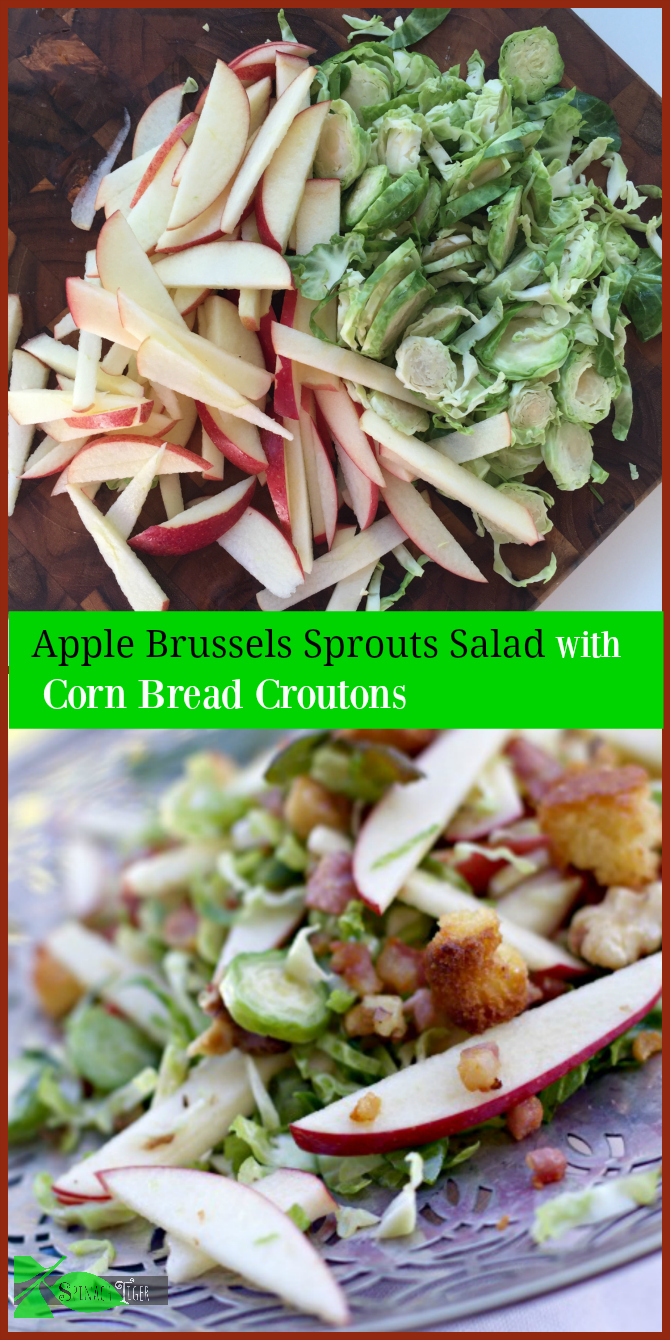 Apple Brussels Sprouts Salad with Corn Bread Croutons Healthy Thanksgivnig Recipe