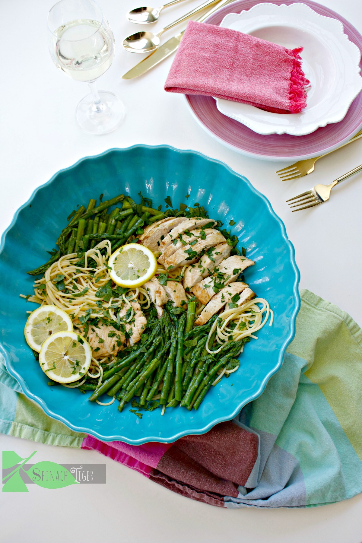 healthy chicken asparagus pasta recipe from Spinach Tiger