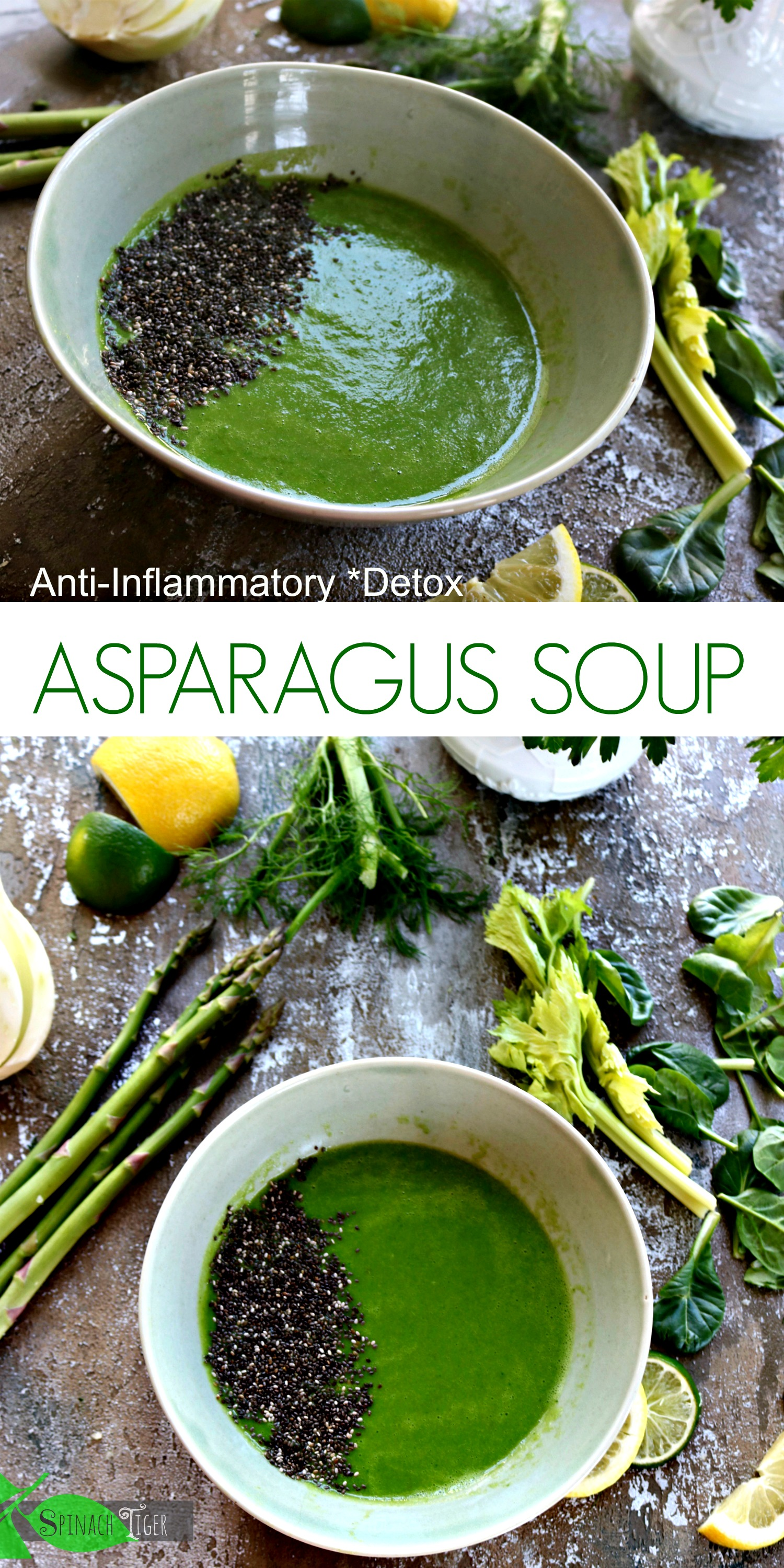 This Healthy Asparagus Soup Recipe is ant-inflammatory, Paleo, Vegan, and Easy from Spinach Tiger