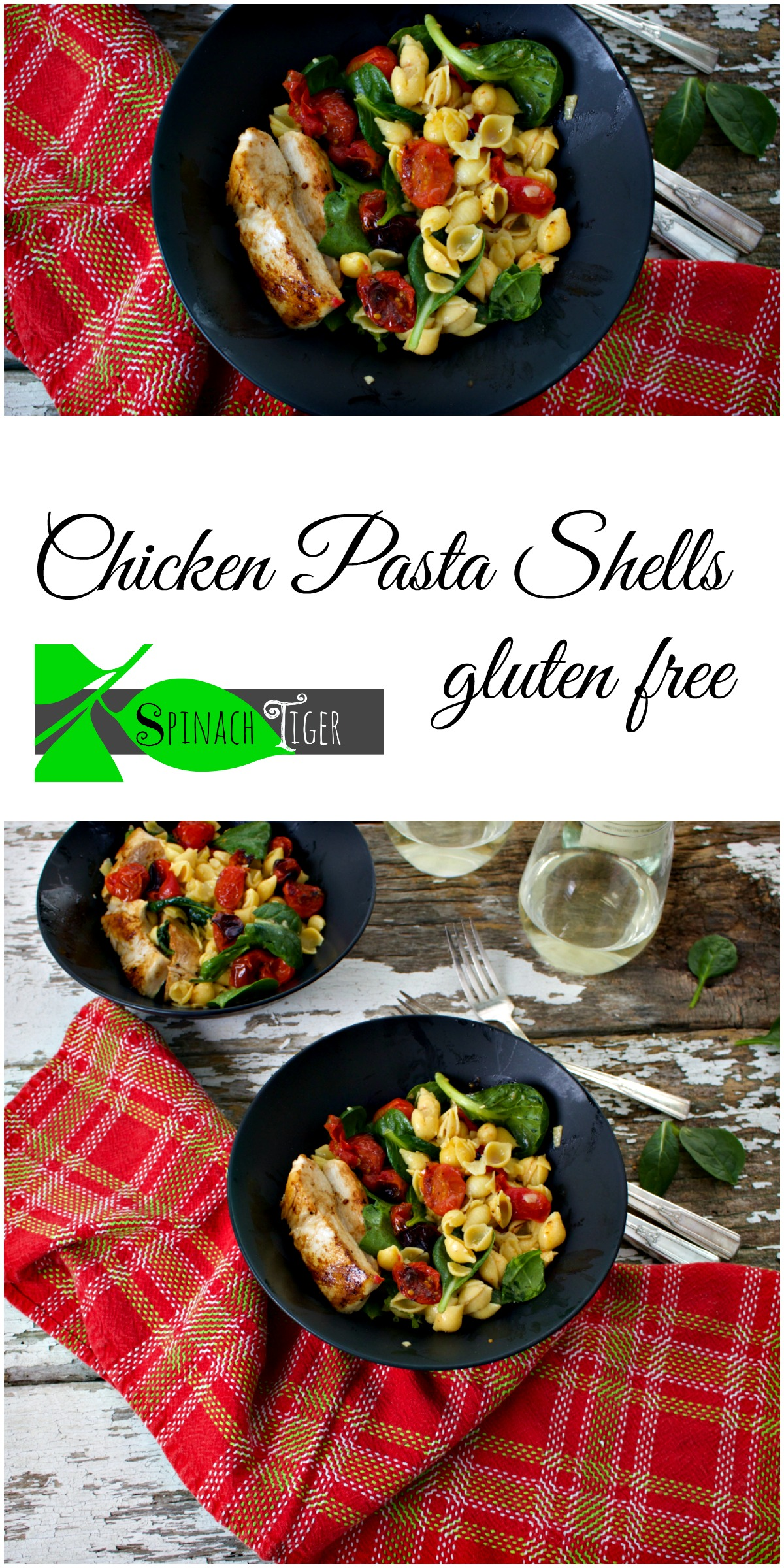 Roasted Tomatoes, Chicken Pasta Shells from Spinach Tiger