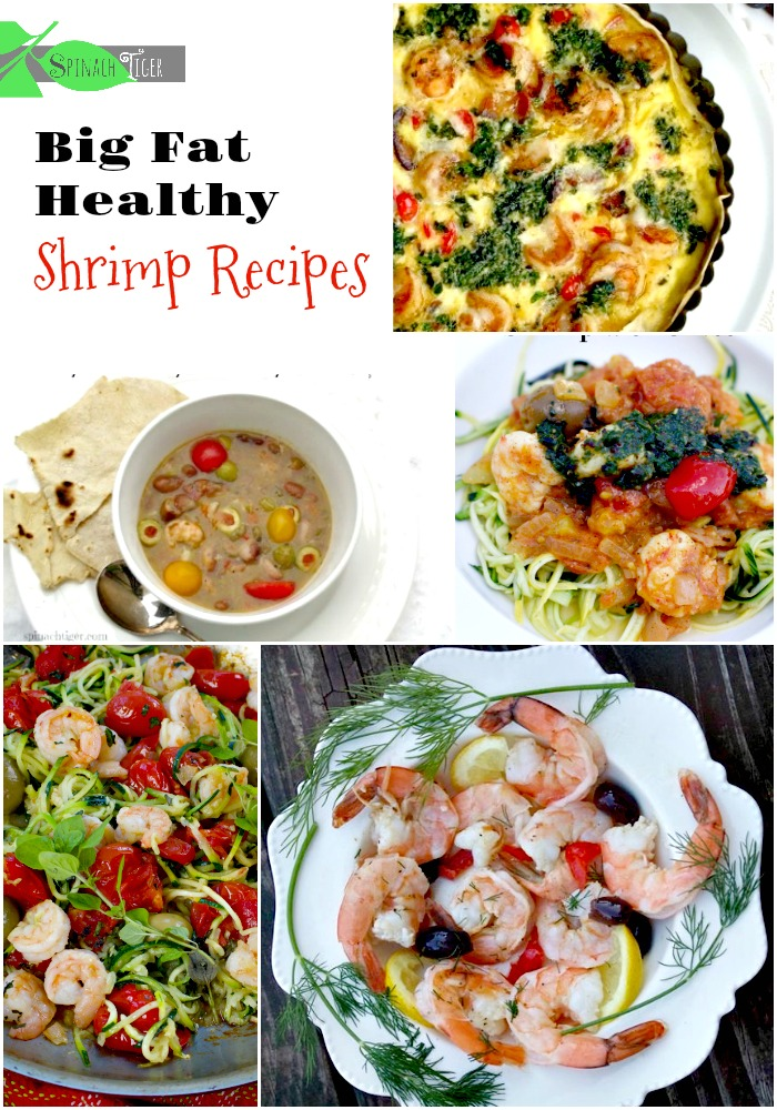 Healthy Shrimp Recipes, including, shrimp salads, shrimp zoodles, shrimp soups, shrimp frittatas. All made in the Spinach Tiger Kitchen. #spinachtiger #shrimpzoodles #shrimprecipes #shrimpsoup #shrimpfrittata  via @angelaroberts